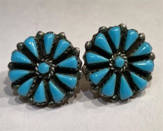 Navajo Turquoise Sterling Silver Cluster Earrings PAIR