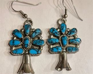 Navajo Turquoise Sterling Silver Cluster Earrings Squash Blossom PAIR