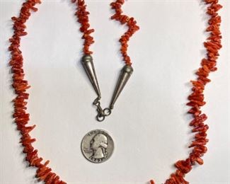 Native American Red Coral Branch Necklace 27in