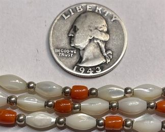 Native American Coral MOP Sterling 3-Strand Bead Necklace