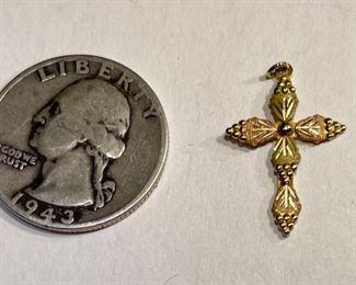 10k Yellow/Rose Gold Cross Pendant10k