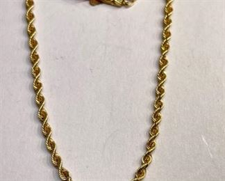 14k Gold 24in Rope Necklace14k