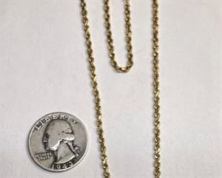 14k Gold 21in Rope Necklace Diamond Cut14k