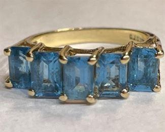 10k Gold Blue Topaz Ring SZ 7 CJC10k