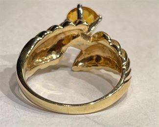 14k Gold Citrine Ring SZ 7.2514k
