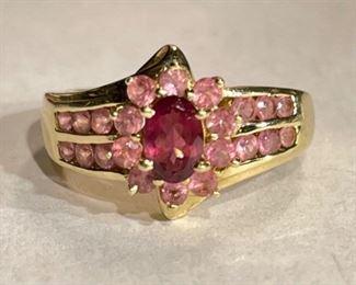 14k Gold Pink Tourmaline & Topaz Ring SZ 614k