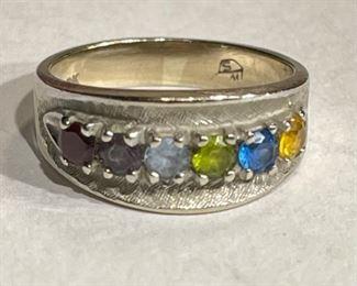 10k White Gold Multi-Gemstone Ring SZ 6.7510k