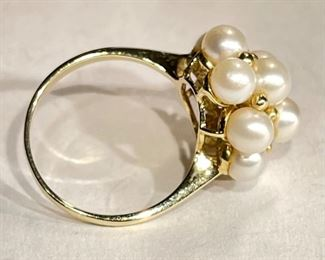 14k Gold Pearl Cluster Cocktail Ring SZ 7.2514k