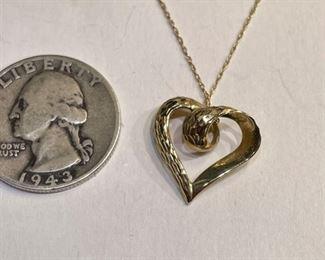 10k Gold Heart Pendant & Necklace10k