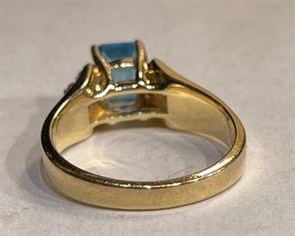 10k Gold Aquamarine & Diamond Ring SZ 710k