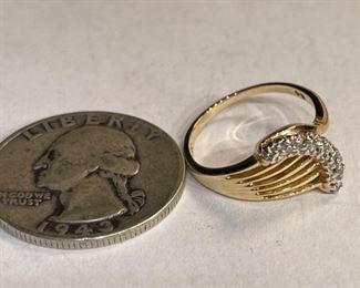 14k Gold 7 Diamond Ring SZ 514k