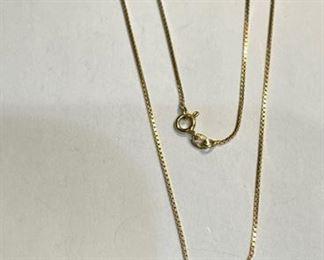 18k Gold Necklace & Garnet/Diamond Pendant18k