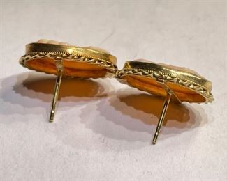 18k Gold Cameo Earrings18k