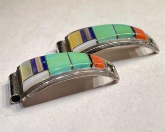 Silver Multi Stone Zuni Watch Band Tips Vintage Signed CS Lonjose