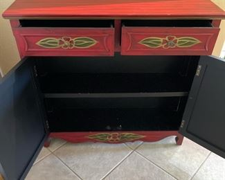 Hand Painted ELM Entryway cabinet PATL37x41x11inHxWxD