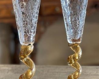 2pc Union Street Glass Gold Spiral Stem Champagne Flutes Glasses PAIR10in H x 2.75in Diameter at top