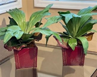 2pc Faux Plants w/ Red pots17x14x14inHxWxD