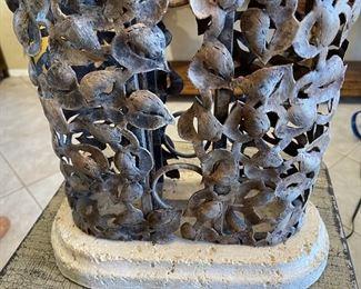 Cambridge Lamp Iron Leaf & Stone38x20x12inHxWxD