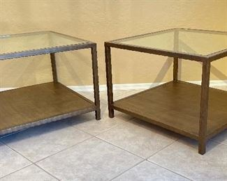 #1 Bronze Finish Glass top Metal Frame End Table21x30x30inHxWxD #2 Bronze Finish Glass top Metal Frame End Table21x30x30inHxWxD