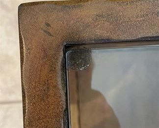 #1 Bronze Finish Glass top Metal Frame End Table21x30x30inHxWxD