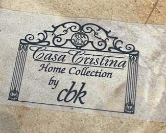 2pc CBK Casa Cristina Pottery Decor Vases PAIR26in H x 6in Diameter