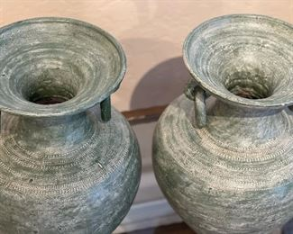 2pc Pottery Green Decor Vases Ring Handle16in H x 12in Diameter