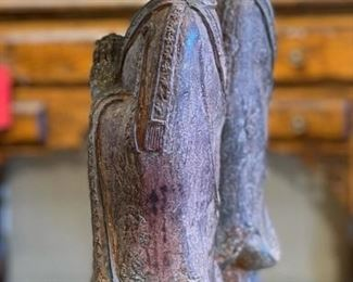 2pc Cast Iron Praying Buddhist Monks PAIR18.5x6x4inHxWxD