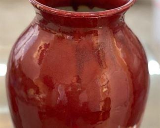 Venetian Red Ceramic Vase21in H x 12in Diameter