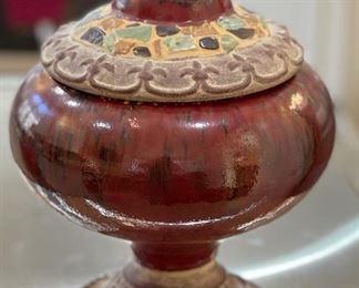 Venetian Red  Ceramic Lidded Vase217in H x 12in Diameter