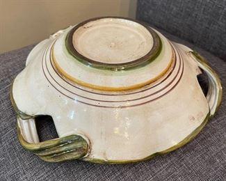 Antique Italian Majolica Ceramic Dish3.5x10x10inHxWxD