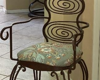 Artist Made Rustic Wrought Iron Accent Chair48 x 23 x 20HxWxD
