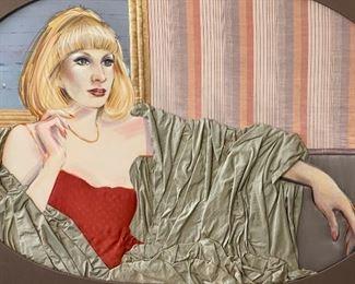 *Original* Art Ron Fritts Mixed Media Woman Portrait36 x 49 x 1 1/2HxWxD