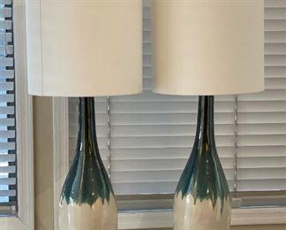 2pc Rothko Table Lamp Turquoise Drip Glaze PAIR39in H x 15in Diameter
