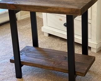Rustic Weathered Accent Table Iron/Wood27x27x17inHxWxD