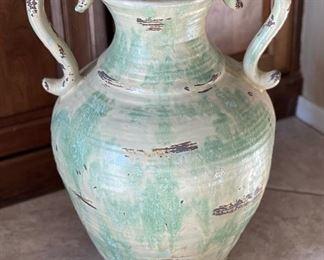 2 Handle Rustic Ceramic Decor Vase21x16x13inHxWxD