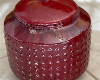 Red Hobnail Ceramic Lidded Vase Decor14in H x 14in diameterHxWxD