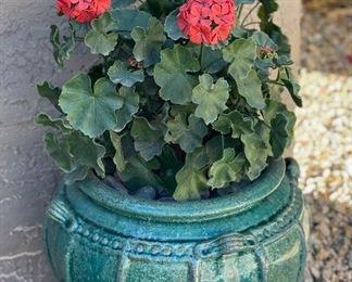 Outdoor Faux Plant Green pot Pot: 14in H x 16in Diameter
