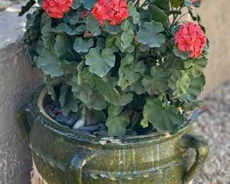 #2 Outdoor Faux Plant Green Drip Glaze potPot 18 inches high by 20 inches diameter