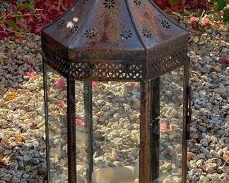 #1 Rustic Metal Glass Candle Lantern28 x 10 x 12HxWxD