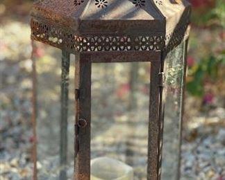 #2 Rustic Metal Glass Candle Lantern28 x 10 x 12HxWxD