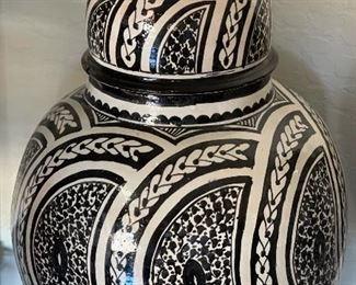 2pc Large Black & White Lidded Jars28in H x 14in Diameter