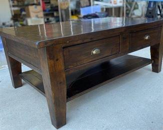 Rustic Dark Wood Coffee Table19x32x50HxWxD
