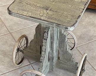 Rustic 4-Wheel Pedestal Plant Stand26x20x20in TOP: 16x16HxWxD