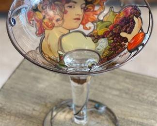 Mucha Art Nouveau Inspired Art Glass Pedestal Vase10.5in H x 9.25in Diameter