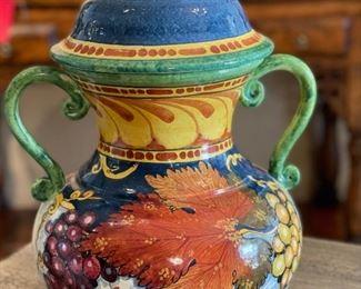 Italian Majolica Lidded Vase L'Albero Capovolto Leona Pottery12.5x10x9inHxWxD