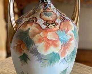 Nippon Morimura Hand Painted 2 Handle Vase10x7x6inHxWxD