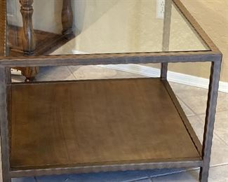 #2 Bronze Finish Glass top Metal Frame End Table21x30x30inHxWxD