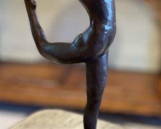 Metal Female Yoga Sculpture13x5x4inHxWxD