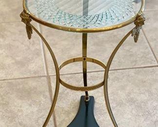 Gold Frame Glass Top Pedestal Table19x14x14inHxWxD