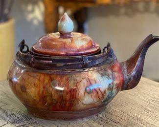 Cast Iron & Stone Asian Teapot